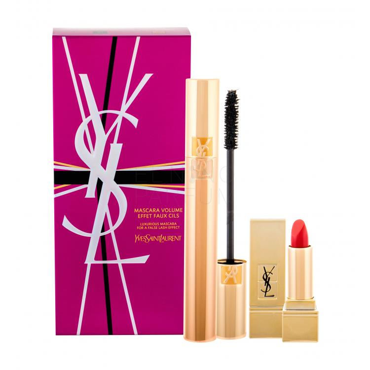 Yves Saint Laurent Volume Effet Faux Cils Zestaw dla kobiet Tusz do rzęs 7,5 ml + Pomadka Rouge Pur Couture 1,3 ml 1 Le Rouge